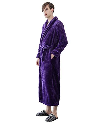 WOOKIT Flanell Pyjama verdicken und verlängern Paare Nachthemd Einfarbiger Bademantel Schlafanzüge für Herbst und Winter-Lila Herren-XL