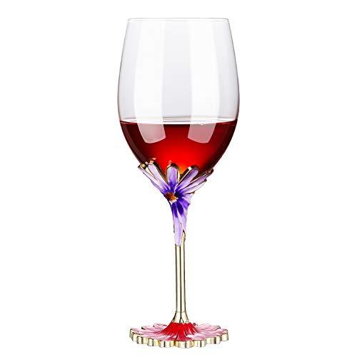 Evecase - Bicchiere da Vino a Forma di Fiore Smaltato Realizzato a Mano,Idee Regalo Donna Mamma Amica Maestra Compleanno Natale San Valentino Festa Della Mamma