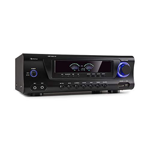 auna AMP 3800 BT 5.0 - Amplificador Hi-Fi, 2 x 120 W + 3 x 50 W RMS, Bluetooth, Puerto USB, Ranura SD, 2 Conectores para micrófono, Entrada DVD estéreo, Salida línea estéreo, Mando a Distancia