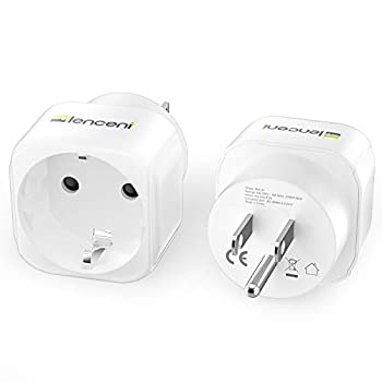 2 Pack Europe to US Plug Adapter LENCENT European to USA Adapter American Outlet Plug Adapter EU to US Adapter Europe to USA Travel Plug Converter