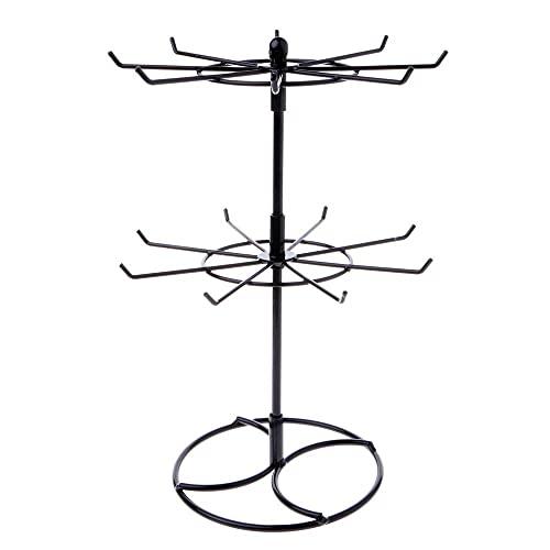 Yingyang - Portagioie in metallo, per collana e bracciale, con rotazione a catena, per appendere gioielli, colore: nero