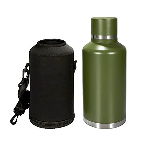 OMVOVSO Bottiglia da Bere in Acciaio Inox, Bottiglia di Acciaio Inox Isolata Sottovuoto con Borsa da Trasporto per Campeggio Escursionismo Zaino Picnic,Verde