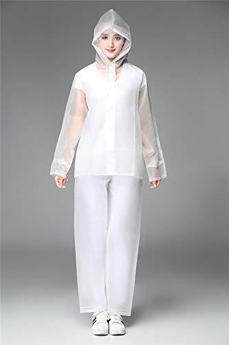 Impermeables Pantalones de Lluvia Impermeables con Capucha Chaqueta Impermeable Pantalones Conjunto Abrigo Cortavientos Ropa Impermeable-Blanco_SG