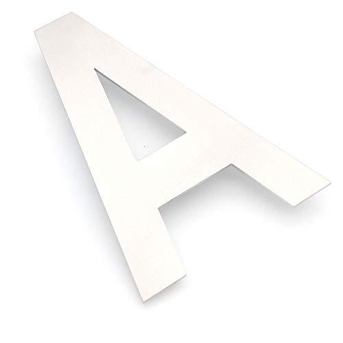 NUZAMAS - Placa de números para puerta con letra A mayúscula, acero inoxidable, placa de dirección de hotel, números de calle, montaje en pared, 10,5 cm de ancho y 15 cm de alto