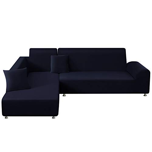 TAOCOCO Copridivano con Penisola Elasticizzato Chaise Longue Sofa Cover Componibile in Poliestere a Forma di L(Blu Scuro, 2 Posti+3 Posti)