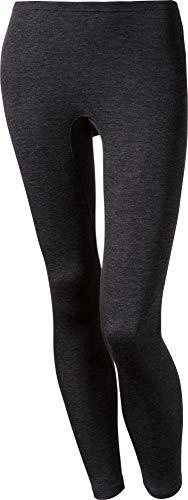 con-ta Thermo Lange Hose, Damenleggings mit natürlicher Baumwolle, wärmeisolierende Thermo-Leggings, Lange Unterwäsche, Schwarz Melange, Größe: 42/L