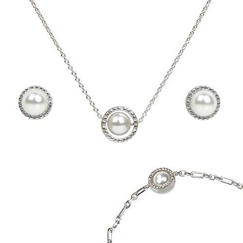 Anhänger, Armband und Ohrstecker Rotating Pearl | Perle dreht sich frei im Silber-Ring | Ketten aus 925 Sterlling Silber