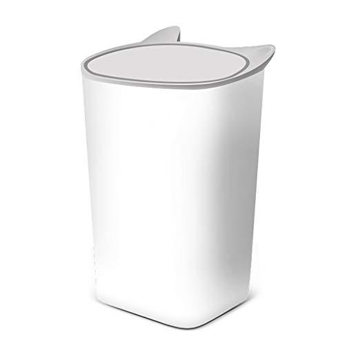 Grote plastic prullenbak, Badkamer Woonkamer Keuken Slaapkamer Multifunctionele verzegelde prullenbak, opbergvak, met deksel, Badkamer Office Paper mand (Color : White)