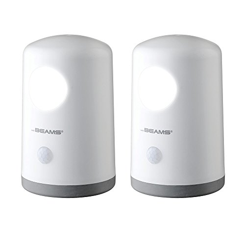 Mr. Beams MB750 Wireless Battery-Operated, Portable, Motion-Sensing 20 Lumen LED Nightlight, White, 2-Pack