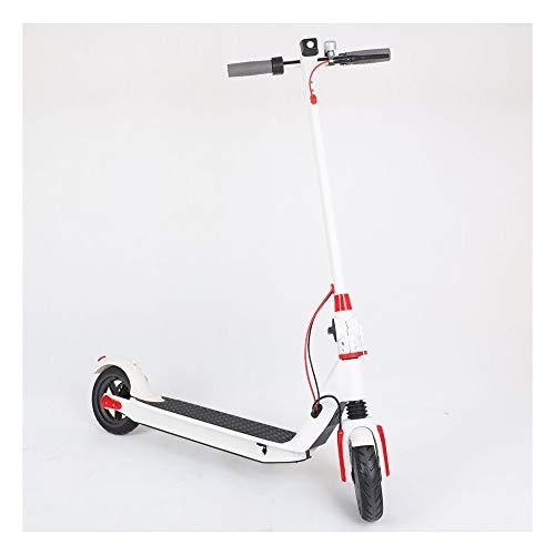 Electrico Patinete con Luz Led Bicicleta City Scooter Plegable para Niños y Adultos 350W, Larga Distancia 25Km, 6.6AH,Blanco