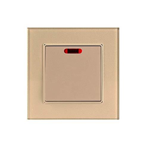 Interruptor de pared Interruptor 20A interruptor de pared de cristal templado Panel de cocina calentador de agua de interruptor de pared Aire Acondicionado Interruptor con luz LED 1Gang 2Way Interrupt