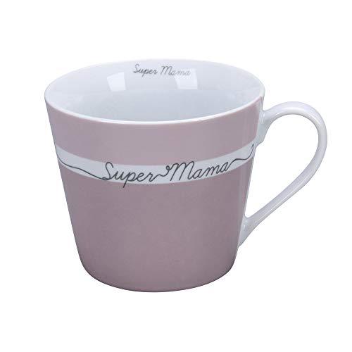 Krasilnikoff - Happy Cup - Becher, Tasse mit Henkel - Super Mama - Porzellan - H9 x Ø10 cm - Volumen: 400 ml