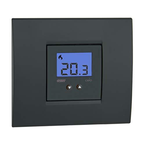 VEMER VE780300 CELO Termostato empotrable de Dimensiones compactas con Pantalla LCD. Alimentación 230 V CA, Color Blanco y Gris Antracita, 1