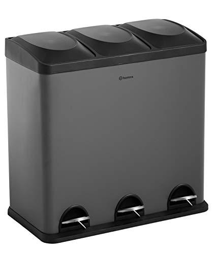 Homra Luxus Abfalleimer mit Fußpedal - 3-Fach (3x20L) Mülltrennsysteme 60 Liter - einzigartig matt grau/schwarz, Hochwertiger Edelstahl Maxer (Grau)