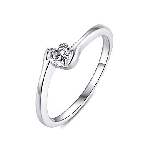 Presentski Heart Promise Rings for Women, Sterling Silver CZ HeartSolitaire Engagement WeddingBand