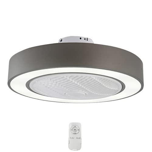 Ventilador De Techo Con Iluminación LED Luz Creativo Regulable Moderna Mando A Distancia Velocidad Del Viento Ajustable Ultra Silencioso De La Sala Dormitorio De La Lámpara Del Ventilador,Gris