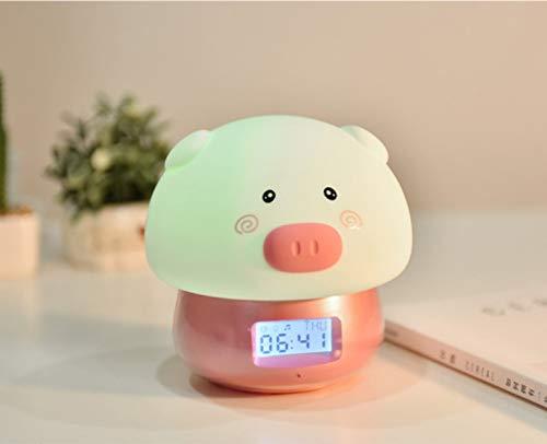 Cartoon schattige dieren multifunctionele wekker opname wekker met kleurenafstandsbediening nachtlampje 134-127 mm