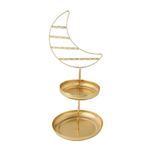 LMJ Estante de la joyería Pendientes de Rack Collar Percha Bandeja de Estante casero Creativo cosméticos Joyas de Oro Almacenamiento (Color : B)