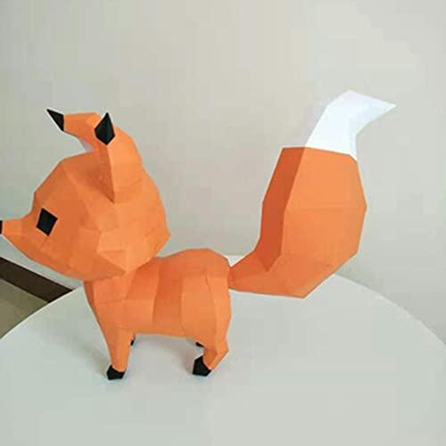 GHJA Kit de Papel de Origami, Lindo Zorro geométrico Origami Modelo de Papel 3D, 3D Animal montado en la Pared Manualidades de Bricolaje Escultura Rompecabezas niños Arte artesanía
