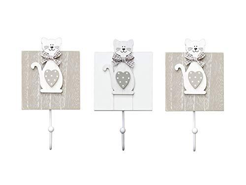 Conjunto de 3 ganchos de perchero pared madera colgador solo gancho con diseño de gatto para pared o puerta en blanco y gris diseño de gattos lindo de para decoración de casa hogar de perros