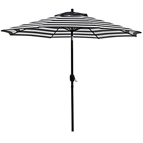 Sunnyglade 9' Patio Umbrella Outdoor Table Umbrella with 8 Sturdy Ribs (Black and White)
