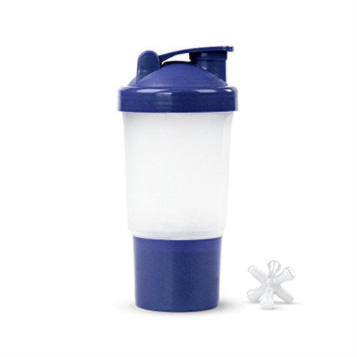 Protéine/Vitamine – Shaker Mixer Bouteille W/Compartiment de rangement sec – Capacité de 453,6 gram., bleu