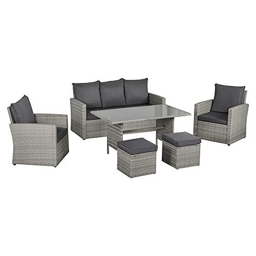 Outsunny 6 PCS Outdoor Patio PE Rattan Wicker Dining Table Sets for Garden Backyard w/Cushions & Mixed Grey