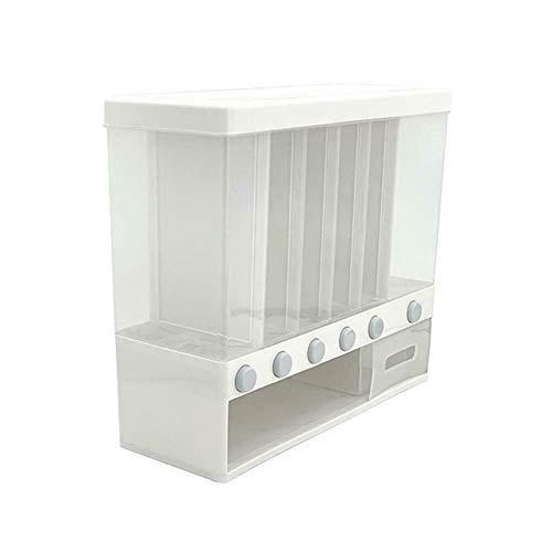 Fuyamp Dispensador de cereales 6 en 1, contenedor de almacenamiento de alimentos secos para cocina, montado en la pared, color blanco