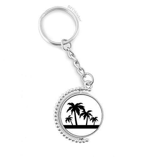 DIYthinker Schwarz Pflanze Kokosnuss-Baum-Silhouette Drehbare Schlüsselanhänger Ringe 1.2 Zoll x 3.5 Zoll Mehrfarbig