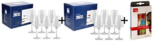 PfalzDeko AKTIONS-Paket 2er Pack inklusive Marken-Glasmarker! 6X Schott Zwiesel Weinglas Taste Weißwein + 6X Schott Zwiesel Weinglas Taste Rotwein