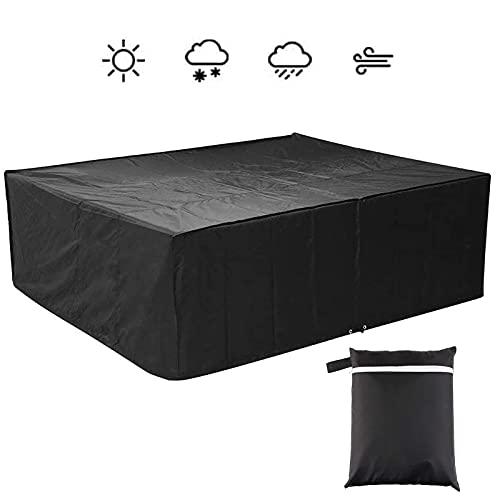 Funda para muebles de jardín de 250 x 200 x 80 cm, tejido Oxford 210D, impermeable, resistente al viento, resistente a los rayos UV, para muebles rectangulares, mesas de jardín y juegos de muebles