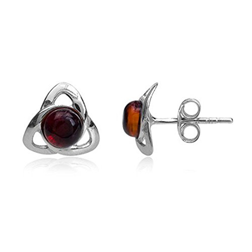 Cherry Amber Sterling Silver Celtic Triangle Stud Earrings