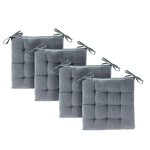 etérea Basic Sitzkissen, Stuhlkissen mit Bändern - für Innen- und Außenbereich geeignet, Sitzpolster Auflage für Haus und Garten - 4er Set - 40x40 cm, Grau