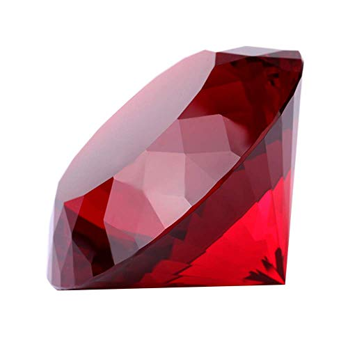Red Crystal Glass Diamond Shaped Decoration, Big Ruby 80mm Jewel Paperweight,Red Crystal Glass Diamond Shaped Decoration, Big Ruby Jewel Paperweight,Gift Decoration Idea For Christmas