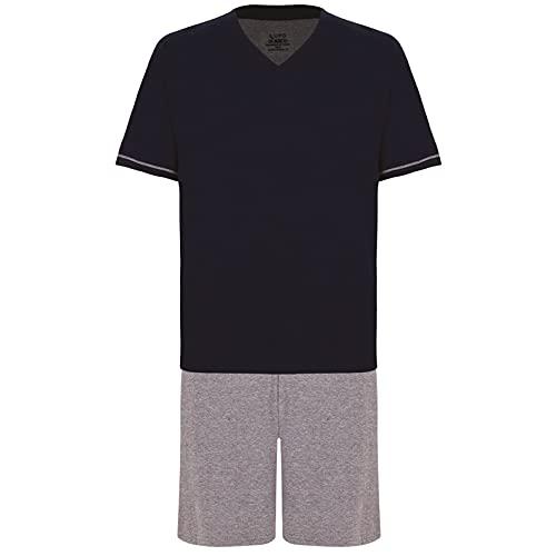 Pijama Lupo AM Malha Curto - Gola V masculino Marinho GG