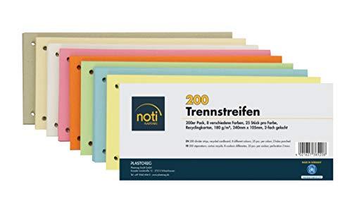 200 Trennstreifen in 8 Farben, 25 Stück pro Farbe, 24 x 10,5cm, gelocht, 180g/m² recycelter Karton, zum Sortieren von Dokumenten, bedruckbar
