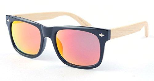 FENGJI-Occhiali da sole da uomo, estivo, in legno di bambù in stile retrò per occhiali, in legno di bambù, con braccioli Rosso Color 8
