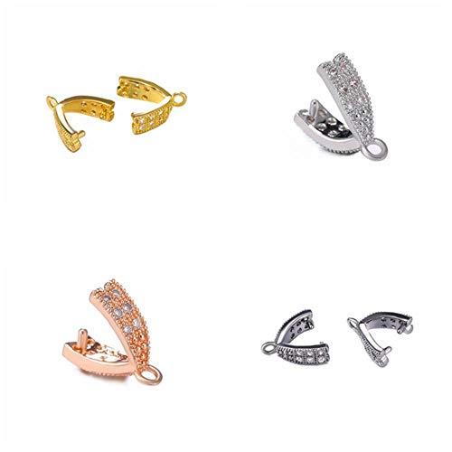 Colgantes con incrustaciones de cobre con incrustaciones de circonita, suministros de bricolaje para joyería al por mayor de cristal, cierres de clip de sujeción para balas, accesorios surtidos, 12 unidades