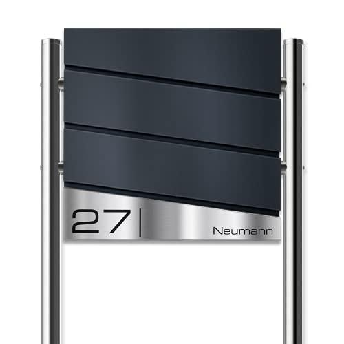 Metzler Standbriefkasten in Anthrazit RAL 7016 Neumann - Briefkasten inkl. Ständer & Zeitungsfach - Namensschild aus V2A Edelstahl - Postkasten, Größe: 37 x 37 x 10,5 cm - Höhe 120 cm