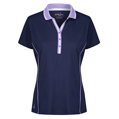 Under Par Damen UPLTS1826-Ladies Deep Ribbed Placket Polo Polohemd, Marineblau/Lavendel, 38