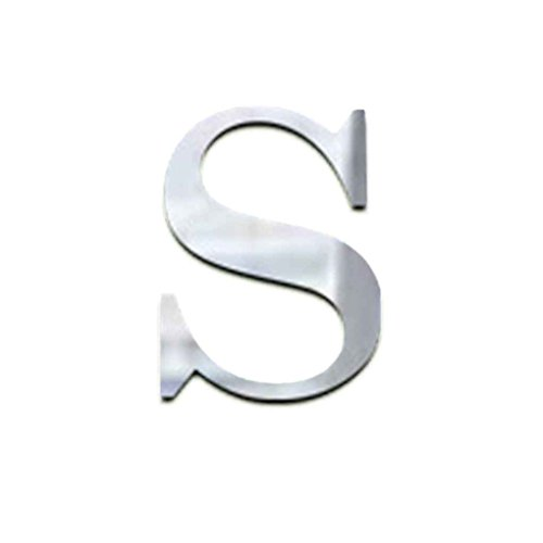 Masterein Englisch Buchstaben Spiegel Aufkleber 3D Acryl Alphabet Gespiegelte Aufkleber DIY Zimmer Dekoration Tapete Silber & S