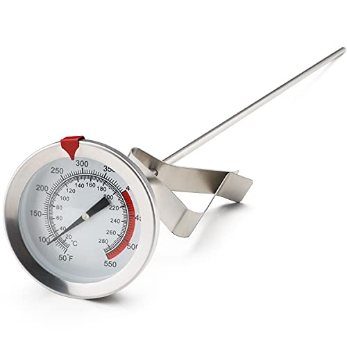 12' Meat Thermometer for Cooking Instant Read Long Stem Waterproof Stainless Steel Kitchen Thermometer for Deep Frying Candy Turkey BBQ Grill