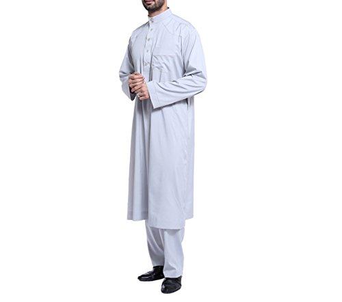 zhbotaolang Herren Middle East Thobe mit Hosen, Casual Dubai Arab Kaftan Kleidung,Grau,XXXL
