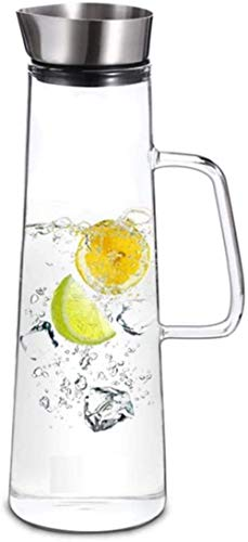 Litros de hervidor de cristal Jarra de la jarra con tapa de hielo Jarra de té de hielo Leche y jugo Bebida Jarra de agua Jarra de agua para agua fría caliente Té helado Taza de té (Tamaño: 1300ml) SON