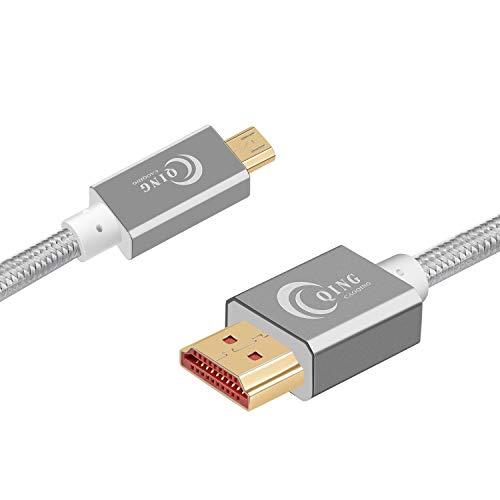 QING CAOQING Cavo ad alta velocità micro HDMI su HDMI 3m, Supporta Ethernet, 3D, e Arc