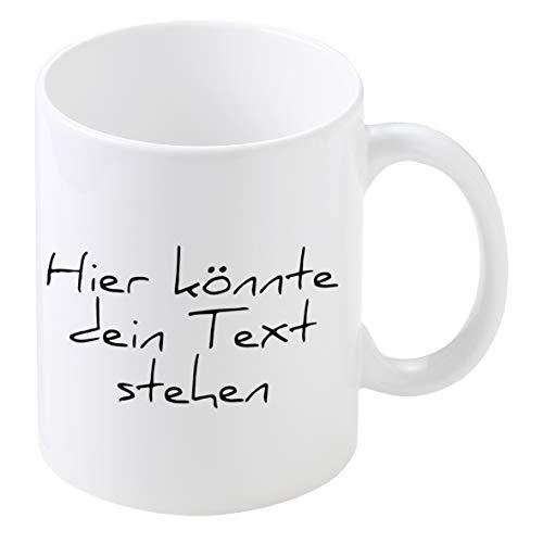 Personalisierte Tasse mit Namen | 0,3 l Farbige Kaffeetasse Teetasse mit eigenem Text zum selbst beschriften Geschenkidee für jeden Anlass (Weiß)