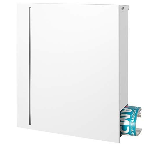 MOCAVI Box 144R Puristischer Briefkasten weiß mit Zeitungsfach (verdeckt) Edelstahl-Design auf Signalweiß (ral 9003)