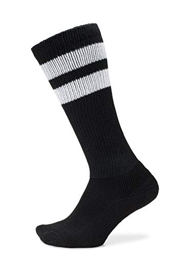 Thorlos Unisex Old School Over the Calf Sock, Black with White Stripes, Large