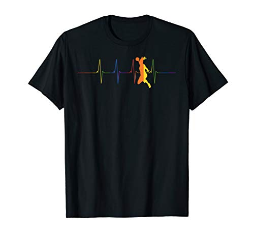 Herzschlag Handball T-Shirt - Regenbogen Handballer Shirts