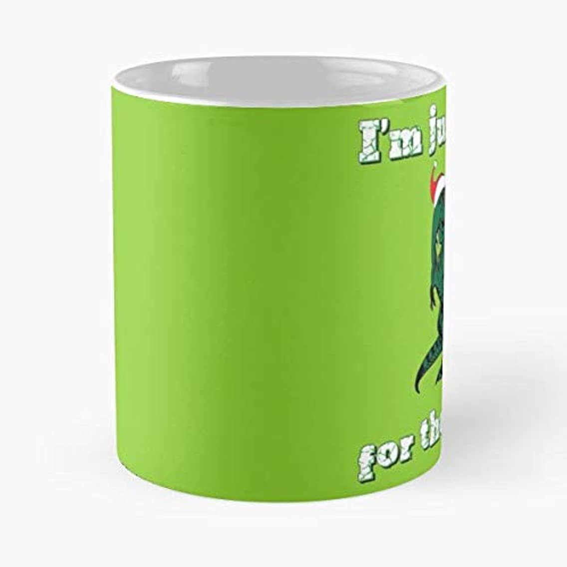 Funny T Rex Dinosaur Santa Hat Food Merry Christmas Xmas Elf - 11 Oz Coffee Mugs Unique Ceramic Novelty Cup, The Best Gift For Christmas.